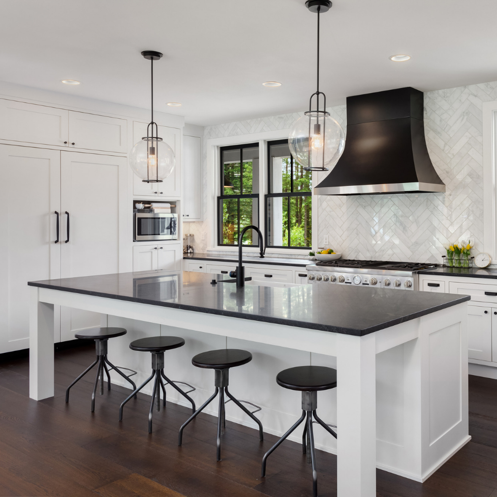 Black and White Contemporary Kitchen Renovation in Hudson Valley NY