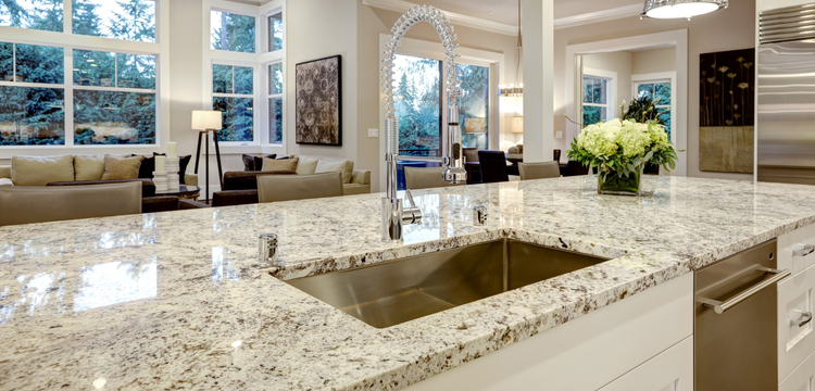 Traditional kitchen remodel with quartz countertops, deep sink, and open concept layout