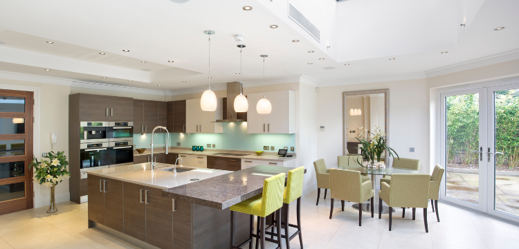 Large Kitchen with Island Seating and Kitchen Table Seating